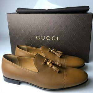 Gucci Patmos Cuir Beige Brown Leather Loafers G07